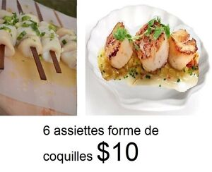 SIX ASSIETTES COQUILLE ST JACQUES PLATES