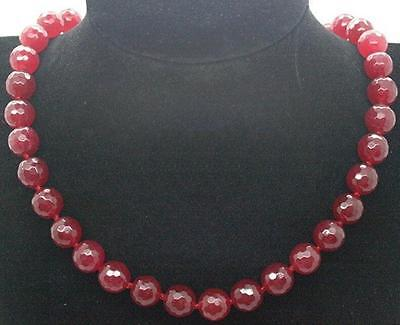10mm Faceted Dark Red Jade Ruby Gemstone Beads Natural Jewelry Necklace 18