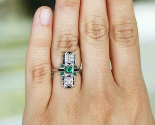 Stunning Art Deco Inspired 1.48TCW Emerald, Sapphire, Black Onyx & White CZ Ring