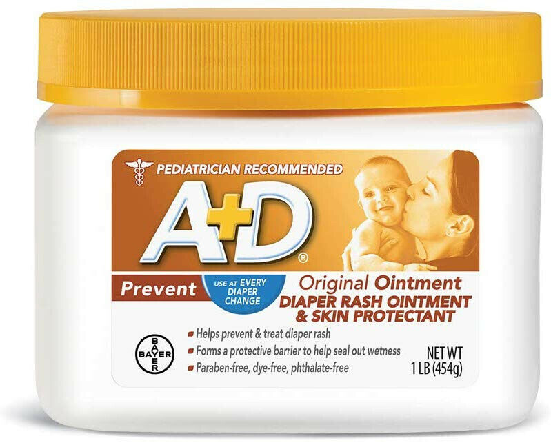 A+D Original Diaper Rash Ointment, Skin Protectant With Lanolin Petrolatum,16Oz