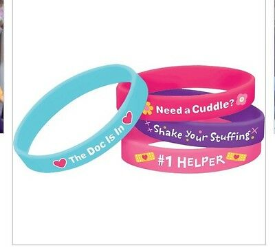 NEW DOC MCSTUFFINS RUBBER BRACELETS Wristbands 4 Birthday Party Supplies Favors](Doc Mcstuffins Bracelet)