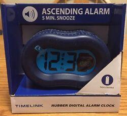 TIMELINK ❤️NIB Rubber Alarm Clock Digital Easy To Read At Night Navy Blue