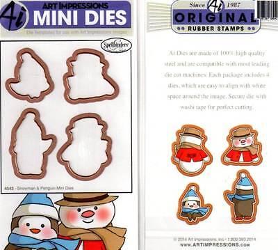 NEW ART IMPRESSIONS Mini DIES 4 snowman penguin front & back stamp spellbinders