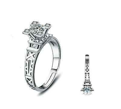 925 Sterling Silver Paris The Eiffel Tower CZ Engagement Adjustable Ring RS29 - Eiffel Tower Ring