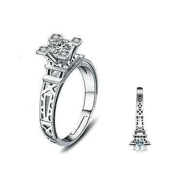 Paris The Eiffel Tower 925 Sterling Silver CZ Adjustable Solitaire Ring RS29 - Eiffel Tower Ring