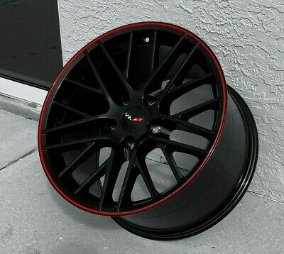 "Used, Gloss Black C6 ZR1 Red Lip Corvette Wheels FITS 1988-1996 C4   17x9.5"" SET for sale  USA"