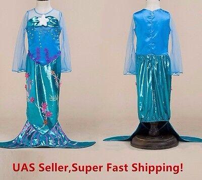 Princess Girl's Mermaid Costume Dress , Kids Costume for 2- 10 Years (Costume Dress For Kids)