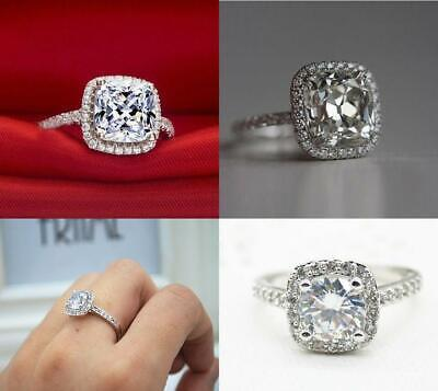 2Ct 14K White Gold Over Four-Prong Diamond Engagement Wedding Ring R7