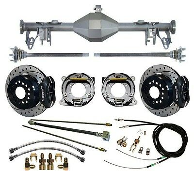 "CURRIE 05-13 MUSTANG REAR END & WILWOOD 12"" DRILLED DISC BRAKES,LINES,CABLE,AXLE"