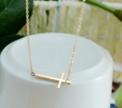 18K Rose Gold Titanium Stainless Steel Sideways Cross Pendant Necklace Gift PE11