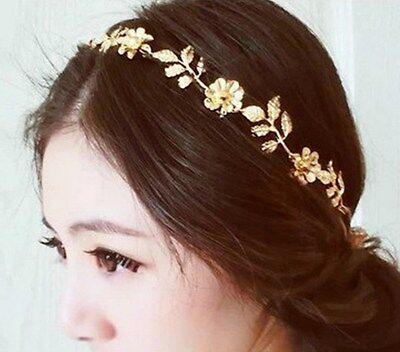Fashion Golden Leaf Flower Head Chain Jewelry Headband Head Piece Hair band AH](Head Chain Jewelry)