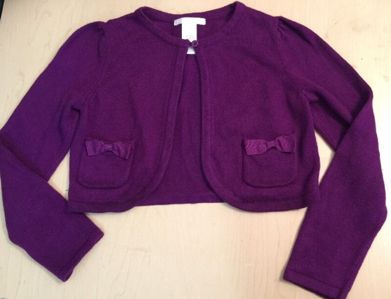 EUC sz 6 Janie Jack CITY MUSEUM Purple Boysenberry Cardigan Sweater Shrug $54