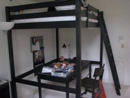 Ikea loft bed with mattress (double size)/ includes free day bed