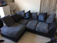 Corner Suite - black leather look base with grey cord and black leather look cushions
