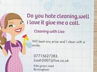 Cleaning with Lisa. Do you you hate cleaning well i love it, give me a call i clean with a smile.