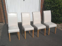 Set of 4 Cream Leather/Light Oak legs. Wilson & Gambier . Virtually unused in perfect condition.