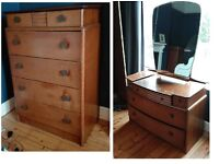 Solid wood 1950s set of chest of draws and dressing table with mirror for sale