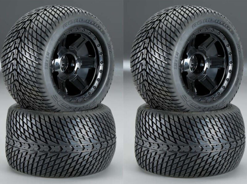 "Pro-Line 1177-11 Road Rage 3.8"" Mounted Front / Rear Street Wheels / Tires (4)"