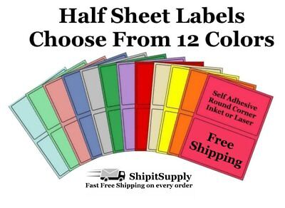 Colored Shipping Labels 8.5x5.5 Half Sheet Self Adhesive eBay PayPal USPS Stamps Coloured Self Adhesive Labels