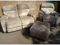 A Beautiful 2x1 and Pouffe with Storage - Electric Recliner in Full Working Order
