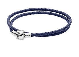 PANDORA SILVER AND DARK BLUE DOUBLE LEATHER BRACELET 35cm