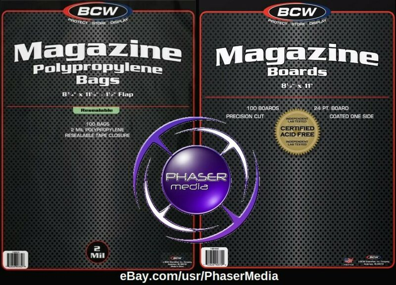 BCW Magazine Bags Resealable Poly Sleeves & BCW Magazine Boards 10 CT EA PREMADE