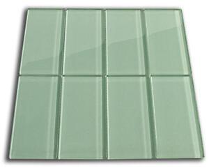Sage Green Glass Subway Tile 3x6 for Backsplashes, Showers & More - SAMPLE