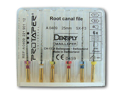 Dentsply Rotary Protaper Universal Engine Niti Files 25 Mm Sx-f3 4 Pack.