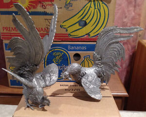 Vintage Silver Metal Fighting Roosters Best Offer
