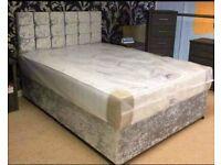 "SPECIAL OFFER !! BRAND NEW CRUSH VELVET DOUBLE DIVAN BED WITH 9"" SEMI ORTHOPEDIC MATTRESS"