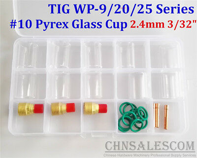 26 pcs TIG Welding  Gas Lens #10 Pyrex Glass Cup Kit for WP-9/20/25 2.4mm 3/32""