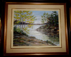 "MIDCENTURY OIL PAINTING - ORIGINAL ART BY E GREGORY 17"" X 21"" FRAMED"