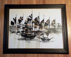 "VINTAGE OIL PAINTING OF SHIPS MEASURES 26"" X 23"""