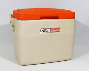Little Oscar Coleman Orange and Eggshell White Cooler w Handle