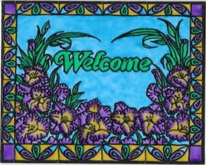 Welcome Sign Purple Iris Stained Glass Painting