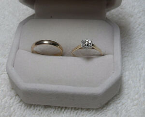 10kt yellow gold Diamond Engagement Ring and 10kt wedding band
