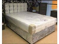(EXPRESS DELIVERY)=DOUBLE CRUSHED VELVET DIVAN BED BASE WITH DEEP QUILTED MATTRESS