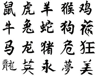 Self Adhesive Airbrush Body Tattoos Stencil Set Book of 20 Kanji Characters Airbrush Body Tattoo Stencil