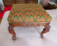 Antique Wood Foot Stool - Carved Flower Pattern