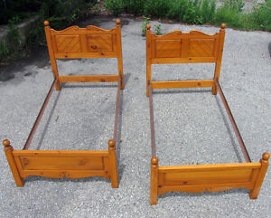 Two Solid Knotty Pine Carved Single Bed Frames SEE VIDEO