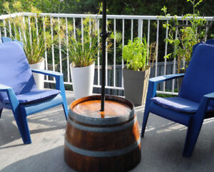 Wine Barrel Umbrella Stand and Table