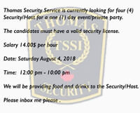Security guards needed.