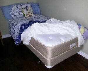 Extra Long Twin Pillow-Top Bed, Box Spring & Metal Frame