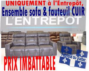 Ensemble sofa & fauteuil - $$$ ECONOMISEZ PLUS A L'ENTREPÔT $$$