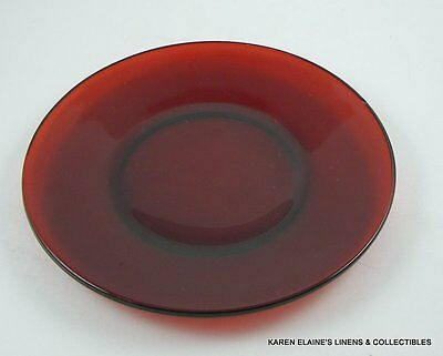 """Red Ruby Glass Luncheon Dish 9 1/8"""" Multiples Available Vintage"""