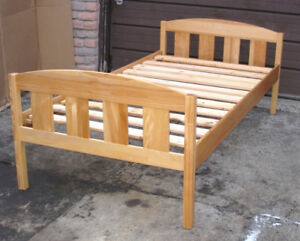 Used Solid Wood Single Bed with wood slats, mattress (extra $20)