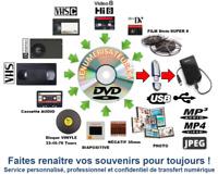 Transferts Numériques VIDÉO VHS, BETA, Hi8, 8mm, Mini DV, Diapo