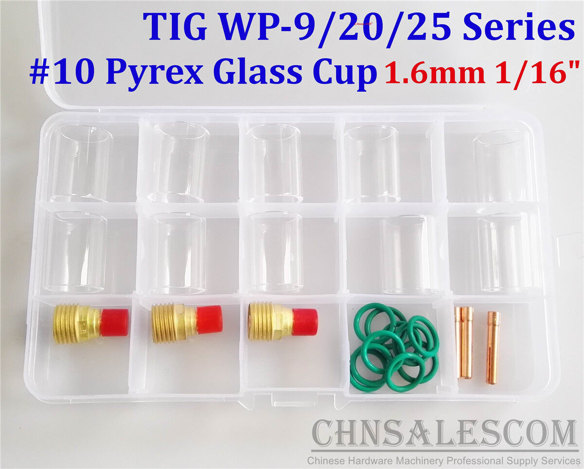 6PCS #12 Glass Pyrex Cup TIG Welding Torch Gas Lens Tools Kit For WP-9 /&WP-17