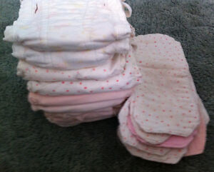 1 set of 10 cloth diapers with inserts, $40