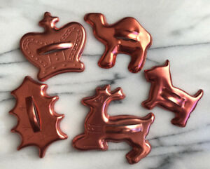 13 Vintage Copper Look Christmas Cookie Cutters  - Mint